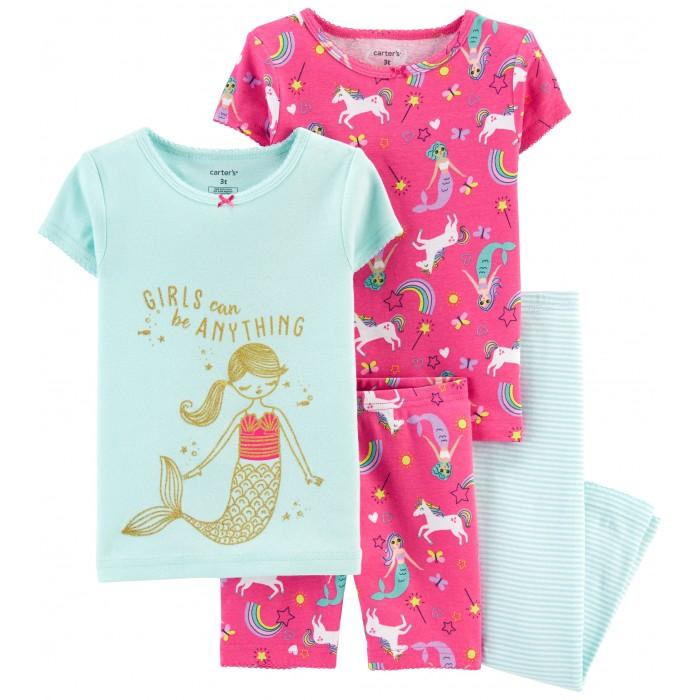 Домашняя одежда Carters Пижамный комплект Русалка и единороги (4 предмета) пижамный топ julia