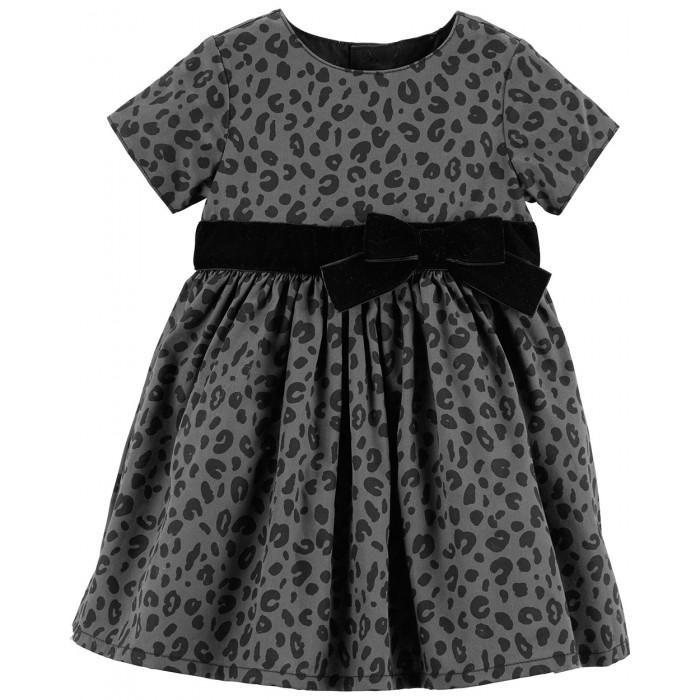 Carters Платье для девочки 120G225Детские платья и сарафаны<br>Carters Платье для девочки 120G225  Нарядное серое платье с анималистическим принтом и бантом подойдет для любого праздника.   - Короткий рукав - Застежка сзади - кнопки - Трусики на памперс в тон к платью - в комплекте - С бархатной лентой на талии  Состав: 50% Вискоза, 39% Полиэстер, 11% Люрекс    Уход: предварительная стирка обязательна, стирать при температуре 30 градусов, не отбеливать, гладить при средней температуре до 150 градусов.  Carter's — это самый востребованный бренд Америки в сегменте детской одежды. Снискав доверие целых поколений семей, мы привносим качество и ценность в широчайший ассортимент детской одежды, подарков и аксессуаров. Мы верим, что детство — это праздник, и создаваемые нами красочные принты и милые персонажи вдохновлены той радостью и любовью, которые появляются в нашей жизни благодаря детям.