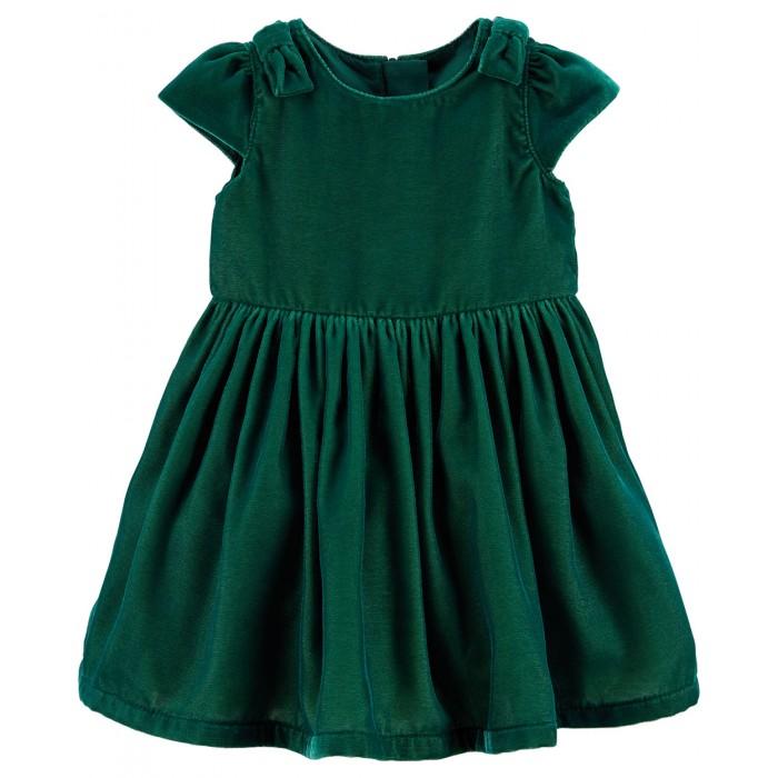 Carters Платье для девочки 120G231Детские платья и сарафаны<br>Carters Платье для девочки 120G231  Нарядное изумрудное платье с бантиками на плечах подойдет для любого праздника. А трусики в тон к платью дополнят комплект.   - Короткий рукав - Застежка сзади на молнию - Трусики на памперс в тон к платью - в комплекте - Бантики на плечах  Состав: 100% Полиэстер   Уход: предварительная стирка обязательна, стирать при температуре 30 градусов, не отбеливать, гладить при средней температуре до 150 градусов.  Carter's — это самый востребованный бренд Америки в сегменте детской одежды. Снискав доверие целых поколений семей, мы привносим качество и ценность в широчайший ассортимент детской одежды, подарков и аксессуаров. Мы верим, что детство — это праздник, и создаваемые нами красочные принты и милые персонажи вдохновлены той радостью и любовью, которые появляются в нашей жизни благодаря детям.