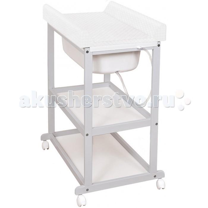 Пеленальный столик Ceba Baby Laura white с ванночкой и матрасиком Caro