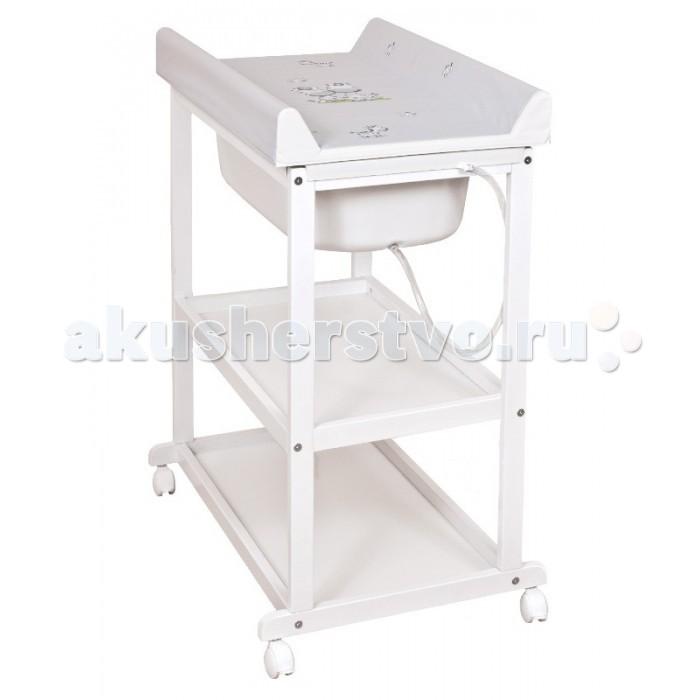 Пеленальный столик Ceba Baby Laura White с ванночкой