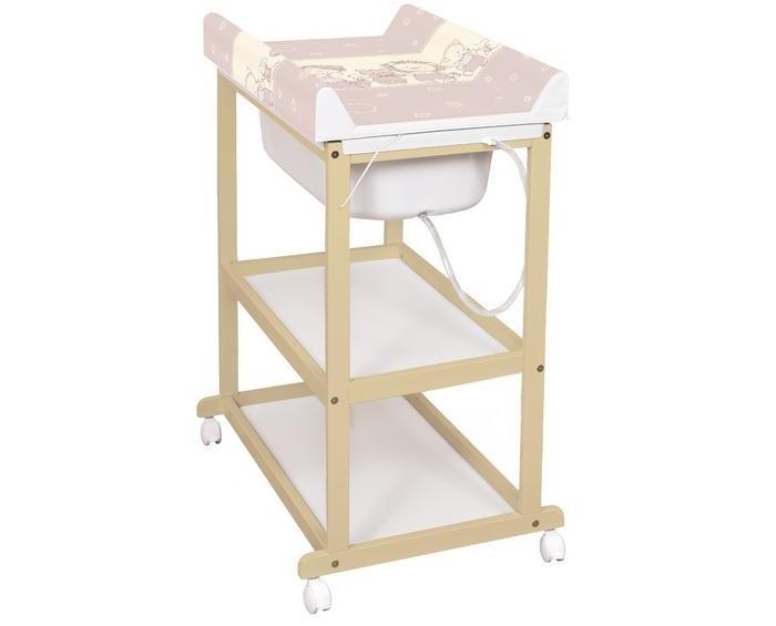 Пеленальный столик Ceba Baby LauraLauraПеленальный стол Ceba Baby Laura – настоящий помощник для мамы: устойчивая и лёгкая конструкция, которую можно перемещать по квартире при помощи колёсиков, удобная высота пеленальной поверхности, две открытые полочки, на которых поместятся все необходимые аксессуары для водных и массажных процедур. Под матрасиком – ванночка со сливом для воды. Специальный механизм обеспечивает быстрый и удобный доступ к ванночке: достаточно просто потянуть за петлю сбоку и опустить пеленальный матрасик за стол.  Особенности: удобный пеленальный столик;  идеально подходит для пеленания, купания и массажа новорождённого;  материалы: прочная и устойчивая деревянная конструкция, полочки из МДФ, полиуретановый матрасик;  под мягким пеленальным матрасом – удобная ванночка со сливом;  внизу – две полочки для хранения необходимых аксессуаров;  колёсики со стопором позволяют легко перемещать столик по квартире и фиксировать в нужном месте.  Размеры (ШхГхВ): 75х54х96 см<br>