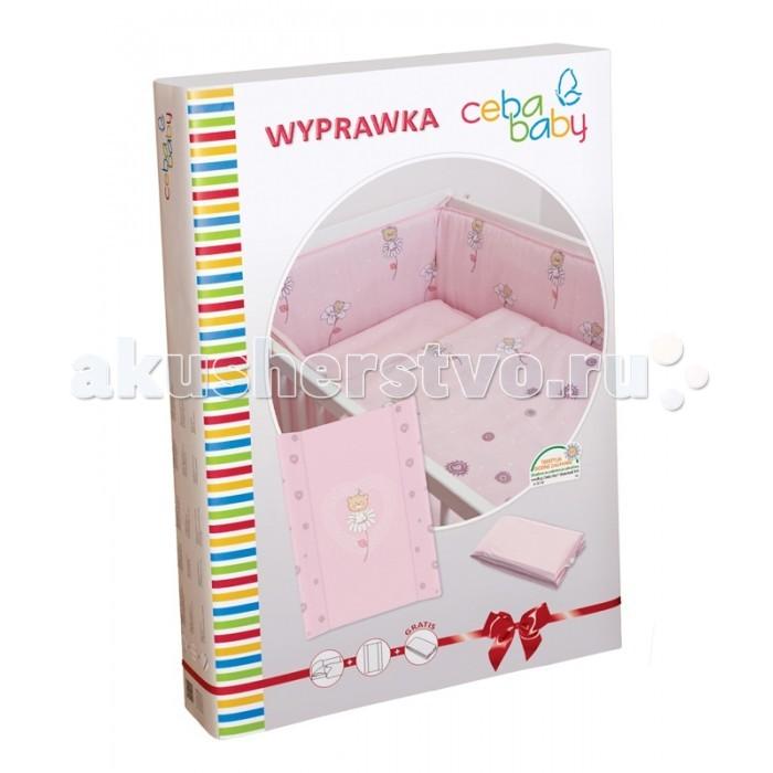 Комплект в кроватку Ceba Baby Layette Daisies (5 предметов)Layette Daisies (5 предметов)Комплект для кроватки Ceba Baby Layette Daisies – это качественный и нарядный текстильный комплект в кроватку, дополненный двумя пеленальными матрасиками, один из которых станет незаменимым помощником дома, а второй удобно брать с собой в дорогу. Постельное бельё выполнено из 100% хлопка, нежного и приятного для детской кожи, и украшено вышивкой или принтом.   Набор упакован в нарядную коробку и может стать отличным подарком молодым родителям на рождение малыша.   Комплект постельного белья: пододеяльник 100х135 см;  наволочка 40х60 см;  мягкий бортик 200х32 см.   Пеленальный матрасик на жёстком основании:  двубортный пеленальный матрас на жёстком основании;  размер: 50х70 см;  жёсткое основание со специальными ограничителями позволяет использовать матрасик на кроватках 120х60 см;  обивка матрасика выполнена из высококачественного клеёнчатого материала, сертифицированного в соответствии со стандартом безопасности, что гарантирует отсутствие вредных токсичных веществ и полную безопасность для нежной детской кожи.   Дорожный пеленальный матрасик:  мягкий пеленальный матрас, который удобно брать с собой в дорогу;  размер: 40х60 см;  позволит с комфортом перепеленать малыша во время длительного путешествия, долгой прогулки или шоппинга;  легко и компактно складывается.<br>