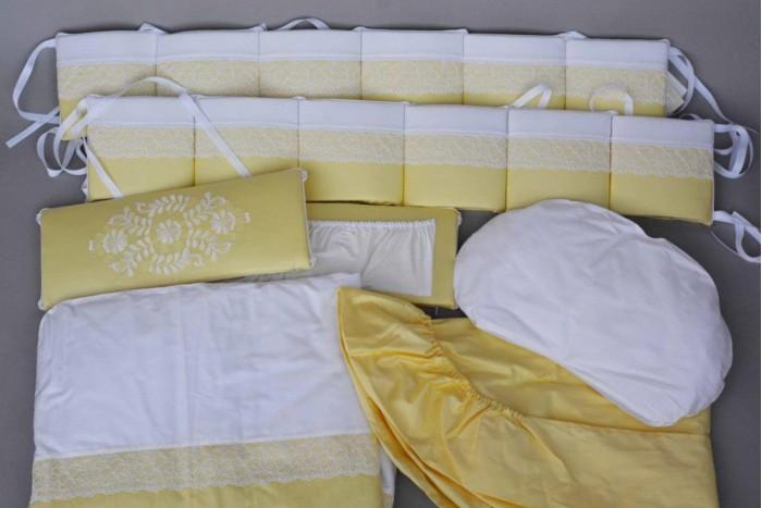 Комплект в кроватку Chepe Нежность (6 предметов)Нежность (6 предметов)Комплект в кроватку Chepe Нежность (6 предметов) предназначено для детей с рождения.  В комплекте 6 предметов:  бампер одеяло пододеяльник подушка-боб наволочка простыня овальная Материал изготовления: 100% хлопок, наполнитель - полиэфир. Размер спального места (ДхШ): 125 х 75 см<br>