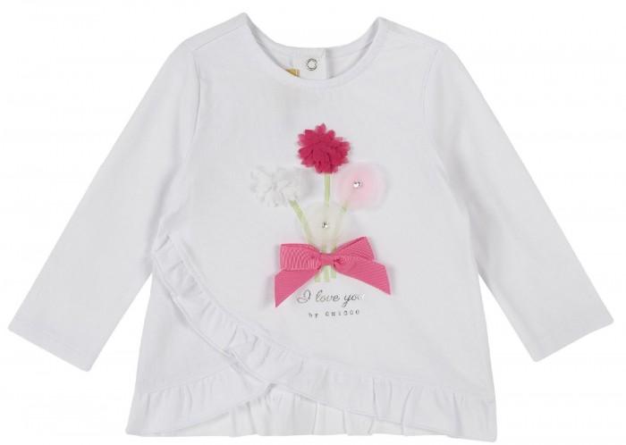 Купить Водолазки и лонгсливы, Chicco Лонгслив для девочки Цветы и бант