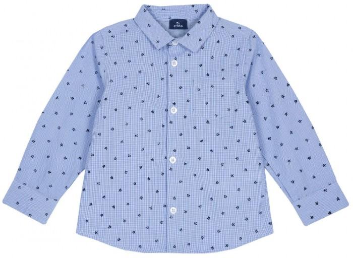 рубашка детская s cool рубашка для мальчика серо зеленая клетка Рубашки Chicco Рубашка для мальчика Листики