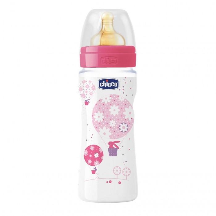 Бутылочка Chicco Well-Being Girl латексная соска быстрый поток РР 4 мес. 330 мл