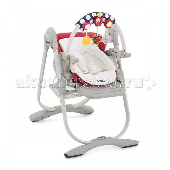 Стульчик для кормления Chicco Polly MagicPolly MagicСтульчик для кормления Chicco Polly Magic   Chicco Polly Magic - это многофункциональный детский стульчик с рождения от Chicco! Детский стульчик-трансформер Magic с устойчивым основанием для детей от рождения до 3 лет. Для детей до 6 месяцев он используется как стульчик для новорожденного: регулируемая спинка позволяет разместить ребенка в положении полулежа и установить дугу с разноцветными игрушками. Для детей от 6 до 12 месяцев используется как обычный стульчик для кормления со съемным столиком. Для детей от года до 3 лет Magic используется как детский стул, без столика для кормления, придвинув его к столу для взрослых.  Особенности: 5-ти точечные регулируемые ремни безопасности  регулируемая высота стула в 6-ти положениях  регулируемый наклон спинки в 3-х положениях до горизонтального  эргономичная форма сидения  съемный вкладыш с набивкой для новорожденных  регулируемая подножка в 3-х положениях по высоте  съемный верхний поднос для удобства кормления  вместительная корзина для детских принадлежностей  кнопки регулировки и складывания «Easy Touch»  компактный размер в сложенном состоянии  тканевые детали снимаются для чистки  Вес: 12,5 кг Размер (в&#215;д&#215;ш): 104,5&#215;55&#215;85 см  Размер в сложенном состоянии: 100&#215;55&#215;27 см  Примечание: На спинке стульчика нет крепелений для подвешивания столика<br>