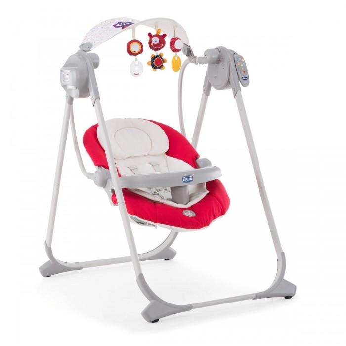 Электронные качели Chicco Polly Swing UpPolly Swing UpЭлектронные качели Chicco Polly Swing Up идеально подойдет для отдыха и игр ребенка как дома, так и во время первых путешествий.  Благодаря эргономическому вкладышу, который изготовлен из дышащей ткани в кресле-качалке комфортно даже новорожденному.  Вкладыш можно извлечь как только малыш подрастет. В кресле-качалке предусмотрены 4 режима укачивания. Съемный регулируемый солнцезащитный козырек защитит малыша от яркого солнечного света во время отдыха на природе. Пятиточечные ремни безопасности с двойным замком позволяют быстро и надежно закрепить ребенка в кресле.   Благодаря пульту ДУ можно легко успокоить малыша, находясь на расстоянии: включить расслабляющую музыку, звуки природы или режим биения сердца, а также установить один из режимов укачивания.  Съемные подвесные мягкие игрушки помогут развивать первые осязательные и тактильные навыки новорожденного. А мягкая вибрация, установленная в кресле, бережно укачает малыша. Чехлы легко снимаются для чистки.  Особенности:  Съемный внутренний вкладыш из воздухопроницаемого мягкого материала для новорожденных детей  Четыре режима укачивания  Съемный регулируемый солнцезащитный козырек  Пяти-точечные ремни безопасности с двойным замком позволяют быстро и удобно закрепить ребенка в кресле  6 различных мелодий (расслабляющие природные шумы и тоны сердца)  Съемная музыкальная панель, мигает 6-ю разноцветными огнями   Подвесные мягкие игрушки помогут развивать первые осязательные и тактильные навыки новорожденного  Легко складывается при помощи двух эргономичных кнопок.  Блок качания работает от батареи типа LR20-D на 1,5 В (в комплект не входит) Максимальный вес ребенка : 9 кг.  Размеры(Д х Ш х В): 57 х 55 х 63-71 см. Вес: 6,1 кг.<br>