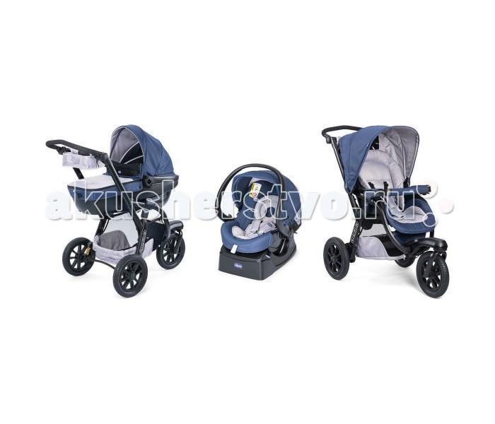 Коляска Chicco Trio Activ3 3 в 1Trio Activ3 3 в 1Универсальная коляска Chicco Trio Activ3 используется спортивными родителями, для которых долгие прогулки по различной местности - в удовольствие. Коляска предназначена для катания детей от рождения до 3-х лет.   Люлька Trio Activ3: Воздухопроницаемая ткань. Имеется подголовник, высота регулируется с внешней стороны. Вентилируемая база люльки. Система крепления Click Clack надежно фиксирует люльку на раме коляски. Капюшон люльки оснащен сеткой. Сетка отстегивается.  Размеры люльки: 45х89х65 см Вес люльки: 4.9 кг  Прогулочный блок Trio Activ3: Регулируемая высота спинки вплоть до горизонтального положения. Капюшон раскладывается до бампера. Капюшон с двойным окошком. Защита от УФ-лучей UV50+. Съемный бампер с мягким чехлом. Бампер совмещается с автокреслом Auto Fix Fast. Набор Comfort Kit – мягкие накладки на плечевые и паховые ремни Activ3.  Размеры прогулочной коляски: 64.5х121.5х94 см В сложенном положении: 38х64.5х94 см Вес прогулочной коляски: 11.5 кг  Автокресло Chicco группы 0+: Система крепления Fix Fast. Способ крепления: 3-х точечные ремни безопасности. Вес ребенка: до 13 кг. Мягкая обивка автокресла, вкладыш для новорожденного снимается. Автокресло может использоваться как переноска или автолюлька: имеется пластиковая ручка для переноски автокресла. Система крепления Click Clack: надежная фиксация автокресла на раме коляски.  Размеры автокресла: 44х67х61 см Вес автокресла без базы: 4.6 кг Вес автокресла с базой: 6.8 кг  Шасси: Шины с защитой от прокола. Регулируемые амортизаторы, 2 положения. Управление тормозной системой: рычаг находится на ручке коляски. Коляска трехколесная, переднее колесо поворотное. Возможность управлять коляской одной рукой. Регулируемая высота ручки. Компактное сложение. При необходимости можно снять колеса.<br>
