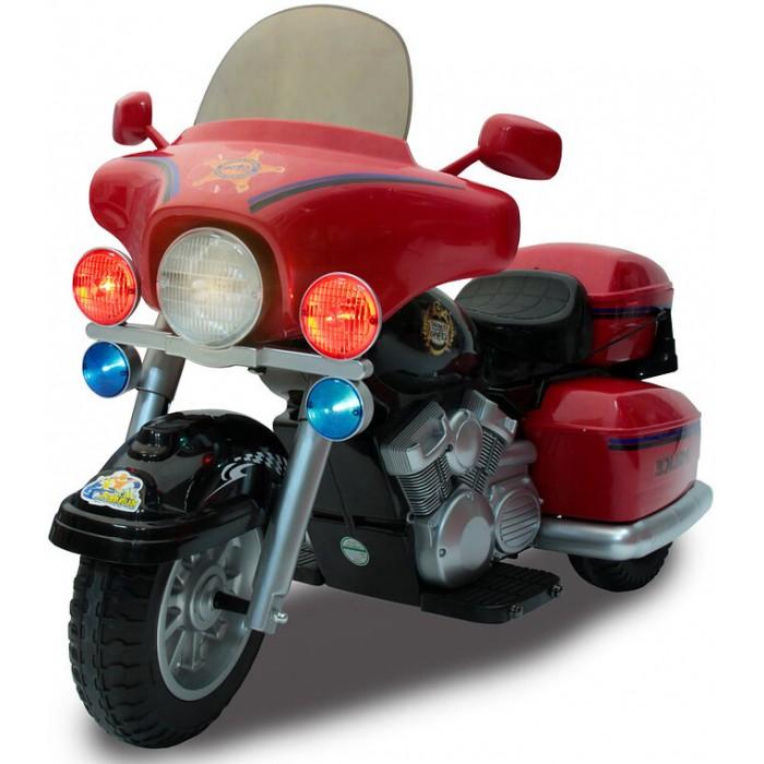 Электромобиль Chien Ti CT-950 Patrol H.PoliceCT-950 Patrol H.PoliceЭлектромобиль Chien Ti CT-950 Patrol H.Police – трехколесный электроприводной мотоцикл для детей 3-6 лет. По стилю и дизайну модель напоминает мотоцикл американского патрульного полицейского. Мощные колеса с протекторами позволяют кататься по бездорожью и преодолевать подъемы до 10%. Для легкого управления мотоциклом газ и тормоз совмещены в одной педали, а удобное сидение и широкие подножки обеспечивают ребенку комфорт при езде. Такие дополнительные опции, как свет фар, полицейская сирена и рация позволят малышу почувствовать себя настоящим полицейским.  Особенности: две скорости движения вперед + задняя скорость; первая скорость – 3, 5 км/час; вторая скорость – 7 км/час; задняя скорость – 3, 5 км/час; акселератор и тормоз совмещены в рукоятке(ребенок повернул правую рукоятку, как в настоящем мотоцикле - мотоцикл поехал, отпустил ручку - мотоцикл остановился); два ведущих колеса; все колеса с резиновыми накладками; свет фары и мигание катафотов; кнопка со звуковыми мелодиями; зеркала заднего вида; закрытый низ корпуса; закрывающийся багажник; длина 123 см; ширина 61 см; высота 82 см;<br>