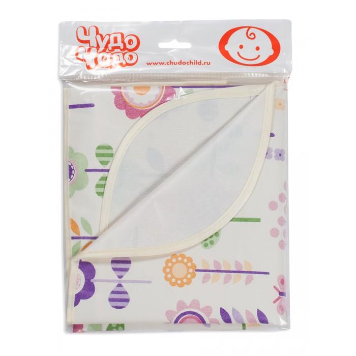 Детские клеенки Чудо-чадо Клеенка детская в кроватку или коляску Цветочки с окантовкой 50x70 см
