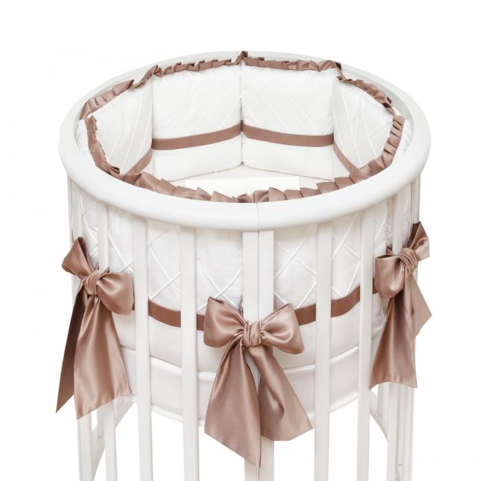 Комплект в кроватку Colibri&amp;Lilly Chocolate Round (5 предметов)Chocolate Round (5 предметов)Комплекты в кроватку Colibri&Lilly Chocolate Round (5 предметов) весь текстиль быстро и удобно снимается, постельные принадлежности выдерживают большое количество стирок, что так важно для современных мам и их малышей.  Хлопок абсолютно гипоаллергенен и безопасен для малыша и позволяет нежной коже дышать, прекрасно впитывая влагу.  Состав комплекта: Защитные бортики - подушки по всей окружности круглой кроватки 75 х 75 см и овальной кроватки 125 х 75 см (принт коллекции). Бортик состоит из 6 прямоугольных подушек. Пододеяльник (принт коллекции) 132 х 102 см Наволочка (принт коллекции) 62 х 32 см Простыня на резинке для круглой кроватки 75 х 75 см (однотонная)  Простыня на резинке для овальной кроватки 125 х 75 см (однотонная)<br>