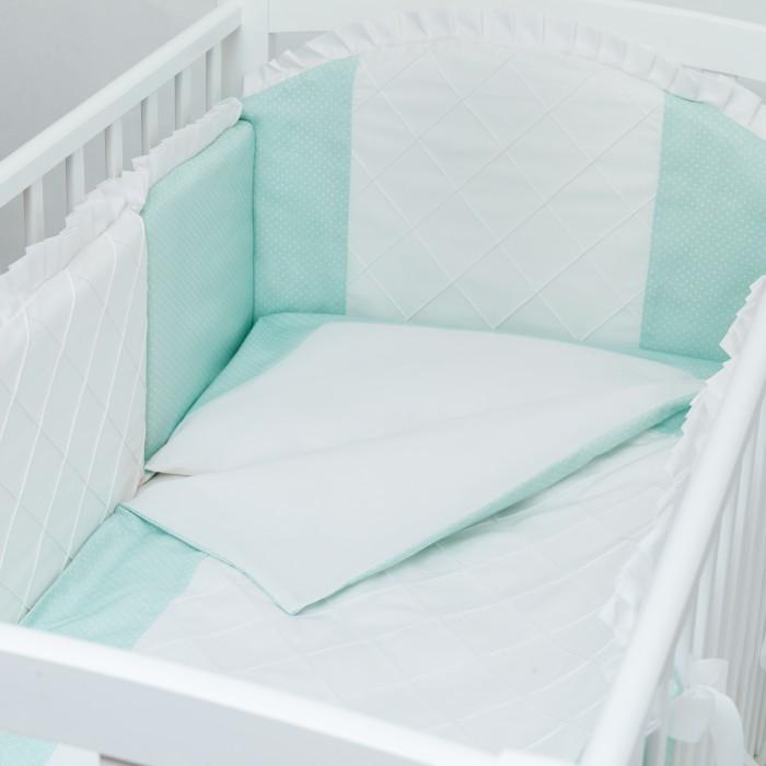 Комплект в кроватку Colibri&amp;Lilly Mint (4 предмета)Mint (4 предмета)Комплекты в кроватку Colibri&Lilly Mint (4 предмета) весь текстиль быстро и удобно снимается, постельные принадлежности выдерживают большое количество стирок, что так важно для современных мам и их малышей.  Хлопок абсолютно гипоаллергенен и безопасен для малыша и позволяет нежной коже дышать, прекрасно впитывая влагу.  Состав комплекта:  Защитный бортик - 360 х 30 см, состоит из 4х частей Наволочка (принт коллекции) 62 x 32 см Пододеяльник (принт коллекции) 132 x 102 см Простыня на резинке (однотонная) для кроватки 120 x 60 см<br>