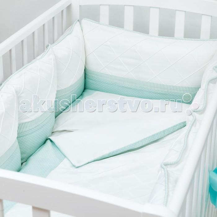 Комплект в кроватку Colibri&amp;Lilly Mint Pillow (6 предметов)Mint Pillow (6 предметов)Комплекты в кроватку Colibri&Lilly Mint Pillow (6 предметов) весь текстиль быстро и удобно снимается, постельные принадлежности выдерживают большое количество стирок, что так важно для современных мам и их малышей.  Хлопок абсолютно гипоаллергенен и безопасен для малыша и позволяет нежной коже дышать, прекрасно впитывая влагу.  Состав комплекта: Защитный бортик (принт коллекции) - 360 x 30 см, состоит из 4х частей Наволочка (принт коллекции) 62 x 32 см Пододеяльник (принт коллекции) 132 x 102 см Простыня на резинке (однотонная) для кроватки 120 x 60 см Подушка 60 х 30 см Одеяло 130 х 100 см<br>