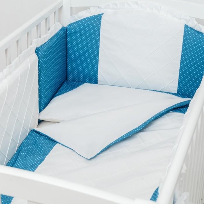 Комплект в кроватку Colibri&amp;Lilly Ocean (4 предмета)Ocean (4 предмета)Комплекты в кроватку Colibri&Lilly Ocean (4 предмета) весь текстиль быстро и удобно снимается, постельные принадлежности выдерживают большое количество стирок, что так важно для современных мам и их малышей.  Хлопок абсолютно гипоаллергенен и безопасен для малыша и позволяет нежной коже дышать, прекрасно впитывая влагу.  Состав комплекта: Защитный бортик - 360 х 30 см, состоит из 4х частей Наволочка (принт коллекции) 62 x 32 см Пододеяльник (принт коллекции) 132 x 102 см Простыня на резинке (однотонная) для кроватки 120 x 60 см<br>