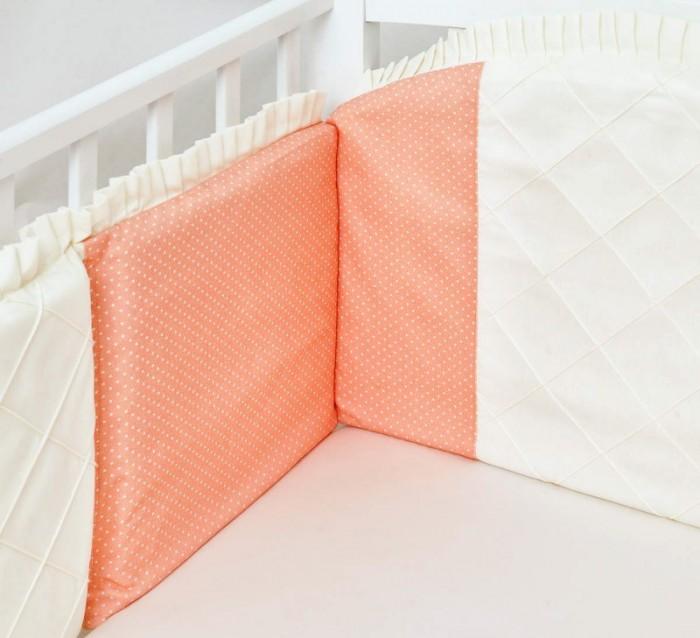Бортик в кроватку Colibri&amp;Lilly Peach 120x60 смPeach 120x60 смБортик в кроватку Colibri&Lilly Peach 120х60 см на весь периметр на весь периметр кроватки.    Состоит из 4-х частей. Каждая из частей бортика имеет съемный чехол, что делает его удобным для стирки.  Ткань: twister, перкаль (100% хлопок)  Наполнитель: полиэфирное волокно (холлофайбер) Twister - это плотная ткань из 100% хлопка, при производстве которого используется хлопчатобумажная нить. Ткань легко стирается, быстро сохнет и обладает малой сминаемостью. Высокая плотность ткани гарантирует пыленепроницаемость и высокую износостойкость.  Перкаль - это высококачественная хлопковая ткань, отличающаяся большой плотностью переплетения нитей, что придает ткани практичность, износостойкость и долговечность. Хлопок абсолютно гипоаллергенен и безопасен для малыша и позволяет нежной коже дышать, прекрасно впитывая влагу.<br>