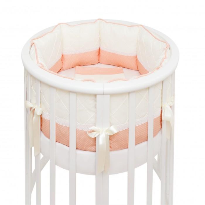 Комплект в кроватку Colibri&amp;Lilly Peach Round (7 предметов)Peach Round (7 предметов)Комплекты в кроватку Colibri&Lilly Peach Round (7 предметов) весь текстиль быстро и удобно снимается, постельные принадлежности выдерживают большое количество стирок, что так важно для современных мам и их малышей.  Хлопок абсолютно гипоаллергенен и безопасен для малыша и позволяет нежной коже дышать, прекрасно впитывая влагу.  Состав комплекта: Защитные бортики - подушки по всей окружности круглой кроватки 75 х 75 см и овальной кроватки 125 х 75 см. Бортик состоит из 4-х частей: 2 части по 4 подушки и 2 части по 2 подушки. Размер каждой подушки - 28 х 28 см Пододеяльник (принт коллекции) 132 х 102 см Наволочка (принт коллекции) 62 х 32 см Простыня на резинке для круглой кроватки 75 х 75 см (однотонная)  Простыня на резинке для овальной кроватки 125 х 75 см (однотонная) Подушка 60 х 30 см Одеяло 130 х 100 см<br>