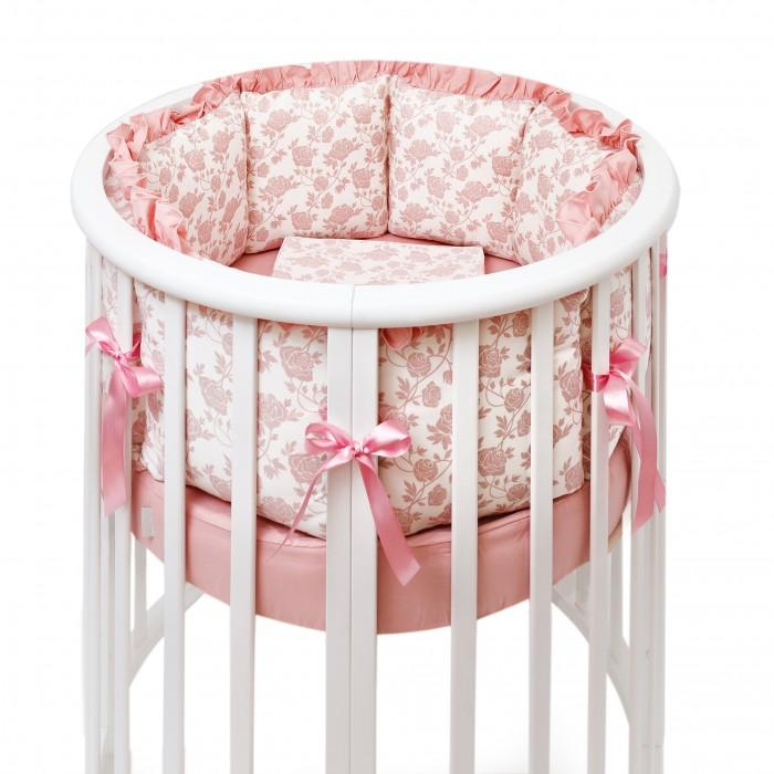 Комплект в кроватку Colibri&amp;Lilly Royal Rose Round (7 предметов)Royal Rose Round (7 предметов)Комплекты в кроватку Colibri&Lilly Royal Rose Round (7 предметов) весь текстиль быстро и удобно снимается, постельные принадлежности выдерживают большое количество стирок, что так важно для современных мам и их малышей.  Хлопок абсолютно гипоаллергенен и безопасен для малыша и позволяет нежной коже дышать, прекрасно впитывая влагу.  Состав комплекта: Защитные бортики - подушки по всей окружности круглой кроватки 75 х 75 см и овальной кроватки 125 х 75 см (принт коллекции). Бортик состоит из 6 прямоугольных подушек. Пододеяльник (принт коллекции) 132 х 102 см Наволочка (принт коллекции) 62 х 32 см Простыня на резинке для круглой кроватки 75 х 75 см (однотонная)  Простыня на резинке для овальной кроватки 125 х 75 см (однотонная) Подушка 60 х 30 см Одеяло 130 х 100 см<br>