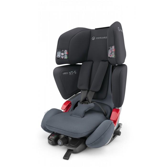 Автокресло Concord Vario XT-5Vario XT-5Автокресло Concord Vario XT-5 для детей от 9 до 36 кг (с 3.5 до 12 лет)   Vario XT-5 имеет 2 конфигурации: группа 1 и группа 2/3. Кресло используется в конфигурации группы 1 до достижения малышом веса в 15-18 кг, после чего 5-титочечные ремни безопасности убираются в специальную нишу и кресло переводится в конфигурацию группы 2/3.   Металлический каркас, обеспечивает безопасность малышу во время всего периода использования кресла, а эффективная система циркуляции воздуха и великолепная эргономика - удобство и комфорт во время поездки. Цветовые индикаторы исключают ошибки при установке.   Уделено особое внимание простоте и безопасности перевода кресла из конфигурации группы 1 в конфигурацию группы 2/3 - при переводе внутренние ремни безопасности убираются, сиденье опускается до самого низкого положения и ребенок пристегивается штатным ремнем безопасности автомобиля.  Конфигурация гр.1 (с 9 до 18 кг, примерно 9 мес - 3.5 года) автокресло устанавливается с помощью системы IsoFix и Top Theather (обязательны при использовании) фирменная разработка компании Concord - инновационная система регулировки высоты сиденья, обеспечивает прекрасный обзор и безопасность малышу при любом росте: голова малыша постоянно находится на уровне подголовника удобная посадка ребенка за счет великолепной эргономики угол наклона автокресла меняется при регулировке IsoFix при помощи колесика, при этом автокресло должно быть закреплено при помощи Top-Teather эффективная система циркуляции воздуха обеспечивает комфорт малышу даже в самую жаркую погоду пятиточечный ремень безопасности с удобной системой натяжения и замком безопасности мягкие накладки на ремнях безопасности покрыты с внутренней стороны антискользящим покрытием, что повышает безопасность в случае резкого торможения или столкновения. при достижении ребенком веса в 15 кг автокресло можно перевести в конфигурацию группы 2/3 Конфигурация гр.2/3 (15-36 кг, примерно с 3.5 до 12 лет) возможно использо