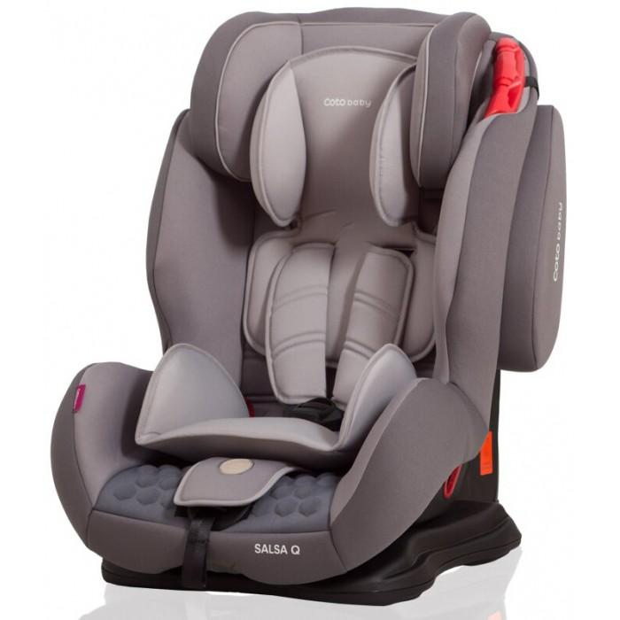 Автокресло Coto Baby Salsa QSalsa QДетское автокресло Coto Baby Salsa Q – это модель, охватывающая возрастные группы 1/2/3 (9-36кг), т.е. ее можно использовать для безопасных поездок малыша в автомобиле примерно с 9 месяцев до 12 лет. Такая универсальность обеспечена тем, что кресло растет вслед за юным пассажиром, и для разных возрастных групп есть свои способы установки. Покупка такого многофункционального автокресла позволяет сразу перейти в него после автокресла-переноски группы 0+, и заметно сэкономить на покупке автокресел для каждой из возрастных групп.  Salsa Q устанавливается в автомобиле лицом по ходу движения только с помощью штатного трехточечного автомобильного ремня безопасности. При этом нужно помнить, что установка на заднем сиденье предпочтительней с точки зрения безопасности, а установка его на переднем сиденье допустима только при отключенной подушке безопасности. Направляющие, выделенные красным, помогут правильно установить основание автокресла на сиденье. Coto Baby Salsa Q соответствует европейскому стандарту безопасности ECE R44/04 и обеспечивает ребенку требуемый уровень защиты как от фронтального, так и от бокового удара.  Ребенок возрастной группы 1 (весом до 18 кг) пристегивается на сиденье внутренними пятиточечными ремнями безопасности. Ремни регулируются под рост малыша: необходимо, чтобы верхняя точка крепления ремня была чуть выше плеча ребенка. Мягкие накладки обеспечивают необходимый уровень комфорта, надежный замок фиксирует ремни. Когда ремни застегнуты и затянуты правильно, между ремнем и грудной клеткой малыша проходит 1-2 пальца. Для детей более старшего возраста меняется способ крепления автокресла. Внутренние ремни снимаются, и ребенок пристегивается штатным автомобильным ремнем безопасности. Высота подголовника легко увеличивается, подстраиваясь под рост ребенка.   Важным, особенно в длительных поездках, является возможность регулировать угол наклона автокресла, сдвигая его на основании. Можно выбрать 1 из 4 положений. Для са
