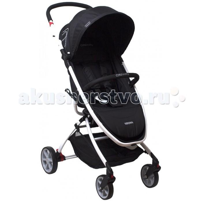 Прогулочная коляска Coto Baby VeronaVeronaПрогулочная коляска Coto Baby Verona это легкая коляска с запоминающимся внешним видом, с которой любая поездка или путешествие превратятся для малыша в настоящее приключение. Она станет верной спутницей для ребенка с того момента, как он научится сидеть самостоятельно, до трех лет. Эта модель особенно будет хороша для теплого времени года и города.  Она просто и компактно складывается, помещается в любой багажник, ее удобно нести в руке, так что Verona одинаково удобно для поездок и общественным транспортом, и в автомобиле. Легкая, изящная рама окрашена в яркий цвет обивки прогулочного блока. Ширина колесной базы позволяет свободно проходить в любой лифт и в любой дверной проем. А весит Coto Baby Verona всего 6 кг.   Коляска снабжена небольшими цельнолитыми колесами – передние поворотные, с возможностью фиксации для преодоления сложных участков дороги, задние увеличенного диаметра, с остановочным тормозом.   Для того, чтобы снизить вес коляски, прогулочный блок выполнен достаточно лаконично, включено только самое необходимое. Тем не менее, наклон спинки прогулочного блока можно менять многопозиционно, с помощью ремня-кулиски. Наклон подножки не регулируется. Сиденье просторное, и даже крупному малышу будет где разместиться. Предусмотрены пятиточечные ремни безопасности с мягкими плечевыми накладками, и бампер-поручень, которые не дадут маленькому непоседе выпасть из коляски. Капюшон регулируется. Для прохладных дней в комплект включена накидка на ножки.  Даже для самой компактной коляски корзина для покупок придется кстати. У Coto Baby Verona она открытая и достаточно вместительная, так что в походе по торговому центру все пакеты с покупками займут свое место и освободят руки.  Размеры:: Размеры (ДхВхШ): 66 х 103 х 55 см Размеры в сложенном состоянии (ДхВхШ): 27 х 68 х 55 см Размеры сиденья (ШхГ): 36 х 25 см.<br>
