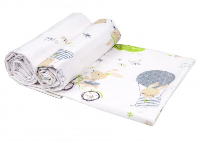 Пеленки Daisy фланель Премиум Зайчата на вело 90х145 см 2 шт. пеленки daisy пеленка дракончик 4 шт