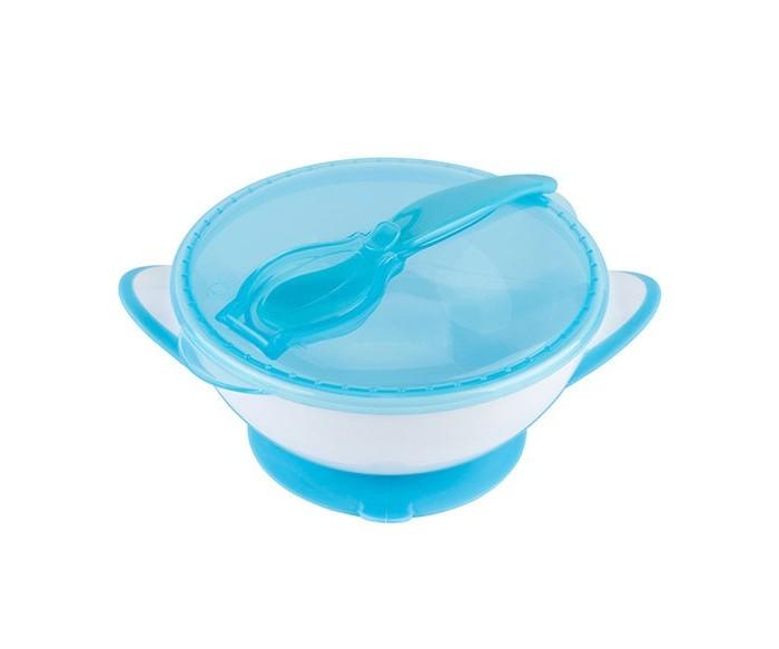 Купить Посуда, BabyOno Тарелочка с присоской, крышкой и ложечкой