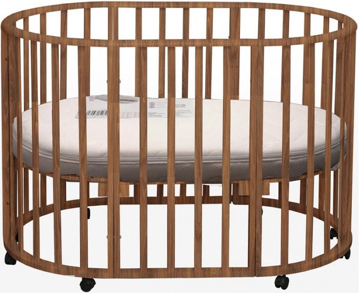 Кроватка-трансформер Daka Baby Genesis Gallileo 5 в 1Genesis Gallileo 5 в 1Кроватка-трансформер Daka Baby Genesis Gallileo 5 в 1 - экологичная и безопасная детская для детей от рождения до 5 лет. Трансформирование происходит из круглой кроватки для новорожденных детей до 6-ти месячного возраста в овальную до 5-ти летнего возраста ребенка, также она трансформируется в манеж, стол и стулья и в диван.. Кроватку Gallileo характеризует высокое качество обработки массива березы. А также высококачественные краски и лаки. Кроватка оборудована тремя уровнями спального ложа и колесами, что позволит легко перемещать ее в комнатном пространстве.  Круглая форма маленькой колыбельки напоминает новорожденному мамин животик, малышу будет очень уютно и комфортно, как бы он не поворачивался (в такой кроватке абсолютно неважно, где ножки, а где голова малыша).  Особенности: легко трансформируется в колыбельку для новорожденных размером 75х75 мм с рейками на безопасном расстоянии кроватка размером 125х75 см манеж для игры и сна положения по высоте наличие оптимальной естественной вентиляции дна (спального ложа) Материал: сделана из экологически чистых и прочных материалов — массива березы Кроватка покрыта специальным гипоаллергенными лаком и краской из натуральных компонентов Кроватка покрыта специальным гипоаллергенными лаком и краской из натуральных компонентов<br>