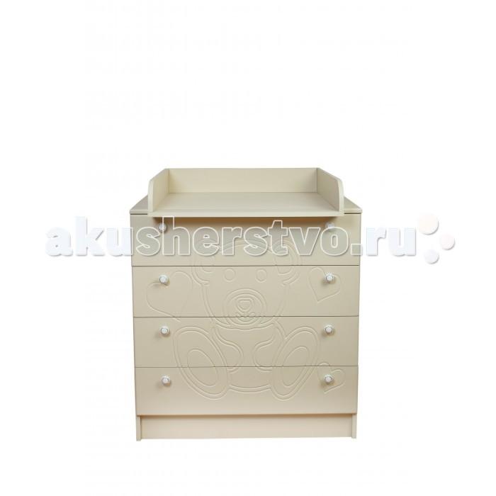 Детская мебель , Комоды Daka Baby Мишка 80/4 пеленальный (4 ящика) арт: 310429 -  Комоды