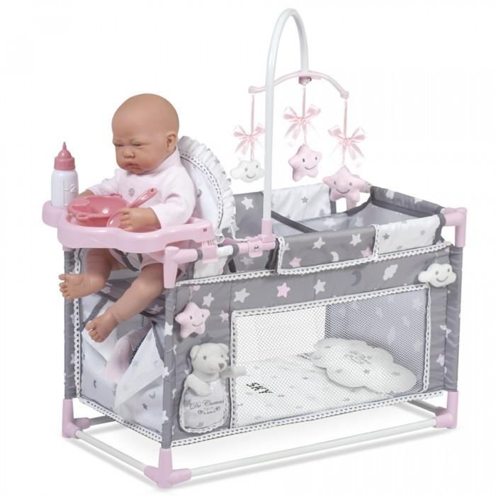 Кроватка для куклы DeCuevas манеж-игровой центр Скай 59 см