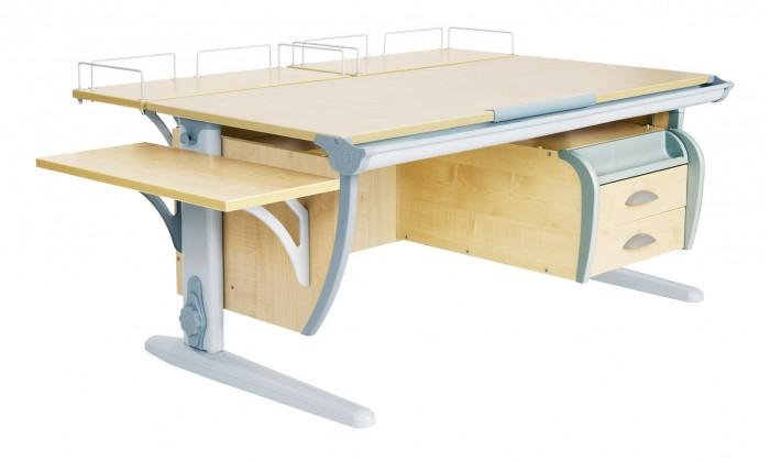 Дэми Стол универсальный трансформируемый СУТ.15-05 (столешница клен)Стол универсальный трансформируемый СУТ.15-05 (столешница клен)Дэми Стол универсальный трансформируемый СУТ.15-05 (столешница клен) - это парта со столешницей 120 см в самой полной комплектации. Это самая популярная модель среди парт со столешницей 120 см. Размер парты Дэми СУТ 15-05-145 см x 80 см. В ней есть все: и задние приставки для монитора, оргтехники, и боковая приставка для подручных предметов, например стакана с водичкой или кисточек для рисования, и наконец, универсальная подвесная тумба на 2 ящика с выдвижным пеналом для канцелярских принадлежностей, которая крепится по желанию как справа, так и слева, что по достоинству оценят родители как левшей, так и правшей, да и сами детки. Подвесная тумба к парте Дэми - это очень удобный вариант, для компактного размещения всех тетрадок и книжек в непосредственной близости от рабочей столешницы школьника. Наличие подвесной тумбы у парты Деми поможет освободить поверхность стола от ненужных в настоящий момент тетрадок, карандашей, ручек и т.д, но достаточно школьнику протянуть руку и необходимая тетрадка на опять столе. Это очень удобно, красиво в эстетическом плане и смотрится здорово.   Детская парта Деми СУТ 15-05 имеет 9-ти ступенчатый механизм наклона столешницы производства Shatti (Германия). Занимаясь за школьной партой Деми, ребенок выбирает оптимальный угол наклона столешницы от 0 до 26° в зависимости от того рисует он, читает или пишет. Комплект СУТ 15-05 можно купить как для первоклассника, так и для подростка, ведь школьная парта СУТ 15-05, как и все модели парт Деми, адаптируется под рост ребенка от 110 до 198 см, а благодаря удачным цветовым решениям, растущая парта впишется в интерьер любой квартиры.  Производитель Деми позаботился о том, чтобы парта стала любимым предметом в детской как для мальчика, так и для девочки, предусмотрев исполнение всех моделей парт Дэми в сером, синем и розовом цвете. Столешница, выполненная из экологиче