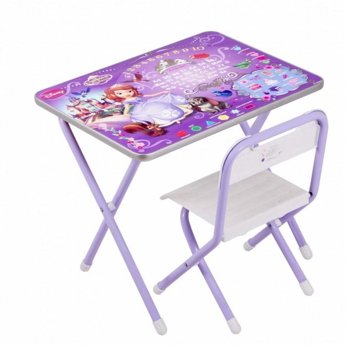 Дэми Набор мебели №1 DisneyНабор мебели №1 DisneyНабор мебели Дэми №1 состоит из стола и стульчика. Поверхность столешницы ламинированная, ее легко мыть и чистить. На столешницу нанесен яркий и красивый обучающий рисунок, позволяющий Вашему ребенку познакомиться с окружающим миром, с буквами и цифрами.  После занятий при необходимости набор можно легко сложить и убрать, что позволяет использовать его даже в малогабаритных помещениях. Набор идеально подходит для организации детских игр и занятий как в дошкольных учреждениях, так и дома.  Размеры набора №1 (рост ребенка 100 - 115 см): размер столешницы 45х60 см высота до плоскости столешницы 46 см высота сиденья 26 см.<br>