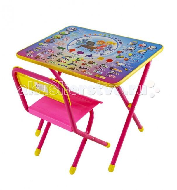 Дэми Набор мебели №1 ЭлектроникНабор мебели №1 ЭлектроникНабор мебели Дэми №1 состоит из стола и стульчика, под столешницей имеется ящик-пенал. Поверхность столешницы ламинированная, ее легко мыть и чистить. На столешницу нанесен яркий и красивый обучающий рисунок, позволяющий Вашему ребенку познакомиться с окружающим миром, с буквами и цифрами.  После занятий при необходимости набор можно легко сложить и убрать, что позволяет использовать его даже в малогабаритных помещениях. Набор идеально подходит для организации детских игр и занятий как в дошкольных учреждениях, так и дома.  Размеры набора №1 (рост ребенка 100 - 115 см): размер столешницы 45х60 см высота до плоскости столешницы 46 см высота сиденья 26 см.<br>