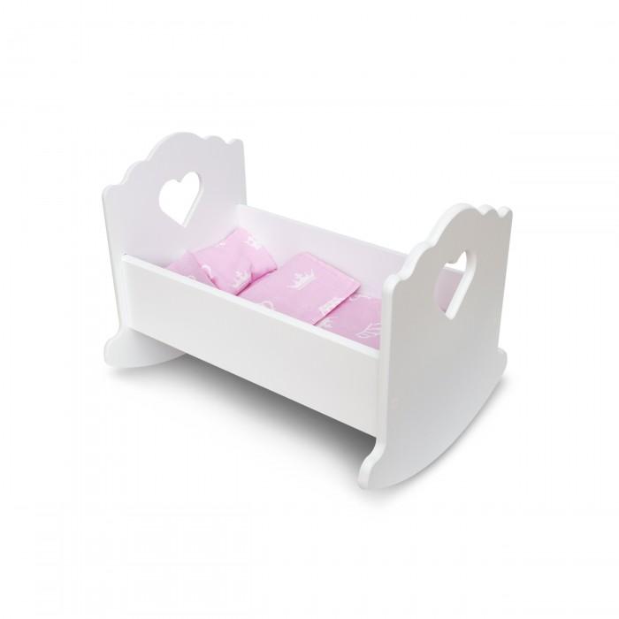 Кроватка для куклы PeMa Kids люлька Сердечко с постельным бельём 30 см