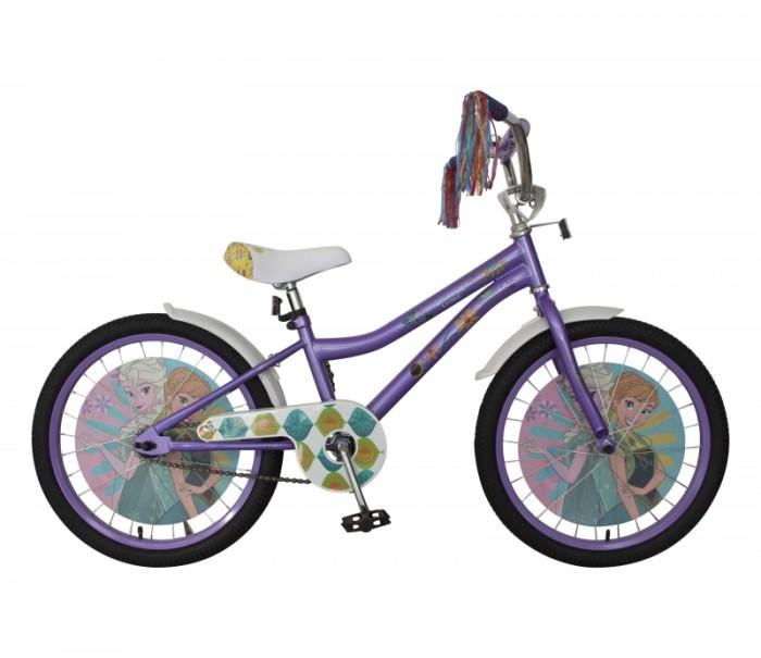 Велосипед двухколесный Disney Холодное сердце 20Двухколесные велосипеды<br>Велосипед двухколесный Disney Холодное сердце 20 - это хорошо собранный и надёжный велосипед для ребёнка.  Особенности:  колеса 14 стальная рама стальные обода ножной тормоз защитная накладка на руле и выносе кронштейн заднего катафота мягкие TPR грипсы мягкое седло с пеной P-образная защита цепи звонок пластиковые крылья косички на руле пластиковые диски с рисунком в колесах.