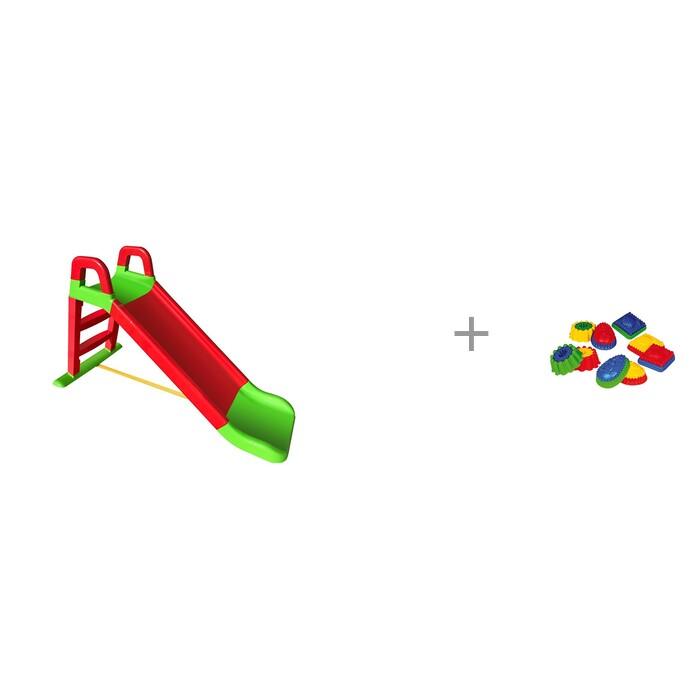 Купить Горки, Горка Doloni детская скат 140 см и формочка двухцветная с рисунком Spielstabil