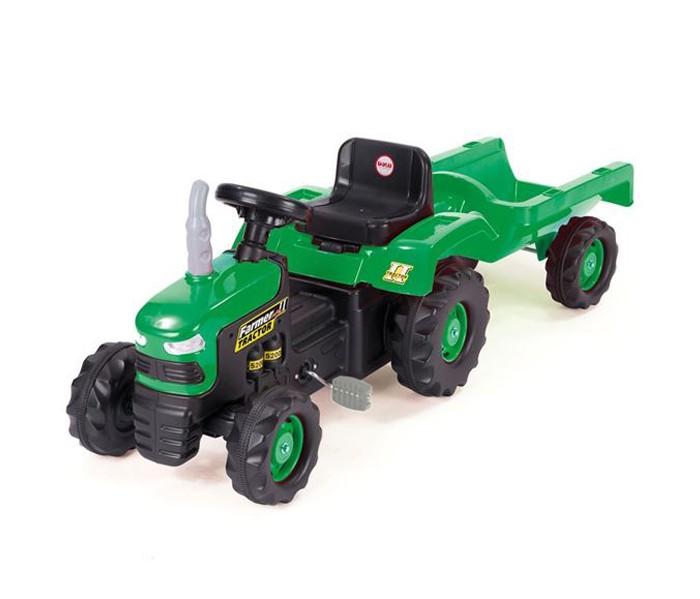 Dolu Педальный трактор с прицепомПедальный трактор с прицепомDolu Педальный трактор с прицепом идеально выполненная игрушка, которая приведет в восторг малыша. Ребенок сможет самостоятельно управлять при помощи педалей и руля, а в прицепе можно перевозить что угодно - от песка и камешков до любимых игрушек.   У трактора большие колеса, которые обеспечивают ему хорошую проходимость, педали на цепном приводе.  В комплекте: трактор, прицеп.<br>