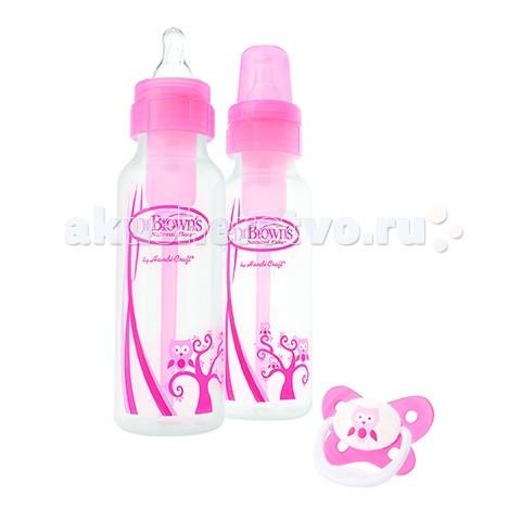 Наборы для кормления Dr.Browns Набор гиппопотам: антиколиковая бутылочка 2 шт. 250 мл + пустышка PreVent, Наборы для кормления - артикул:27903