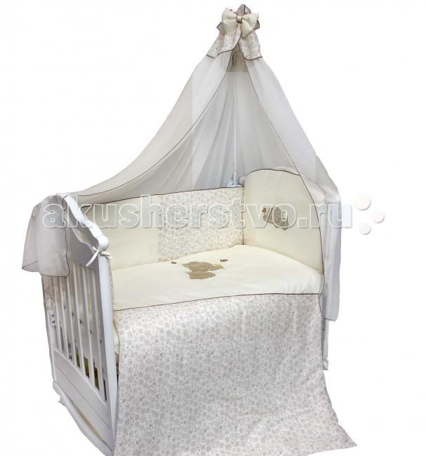 Комплект в кроватку Bombus Милый слоник (7 предметов)Милый слоник (7 предметов)Милый слоник увлечет вашего малыша в страну сладких и сказочных снов! Комплект выполнен из высококачественного хлопка. В качестве наполнителя используется гипоаллергенный, дышащий Холлкон, он хорошо пропускает влагу, создает комфортный микро – климат в кроватке Бампер в изголовье и одеялко украшены эксклюзивной 3D вышивкой. что придает комплекту еще большую неповторимость, а кант придаст комплекту особую элегантность! Нежный балдахин изготовлен из легкой и нежной вуали. Это элегантный и красивый аксессуар для детской кроватки. Создает ощущение уюта и красоты.  Комплект весьма удобен в использовании. Бортики по всему периметру кроватки сделают сон малыша безопасным.   Комплект состоит из 7 предметов:  балдахин (175 х 400 см)  одеяло (108 х 142 см),  подушка (60 х 40 см) простыня (100 х 150 см)  пододеяльник (110 х 145 см ) наволочка (60 х 40 см) бампер охранный (360 х 40 см)  Материал: 100% хлопок  Наполнитель: холлкон гипоаллергенный и всесезонный.<br>