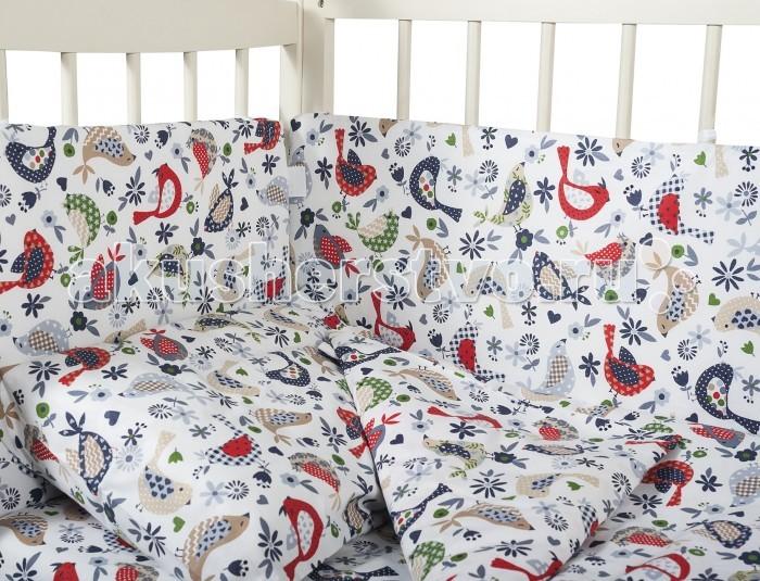 Бампер для кроватки Dream Time ПташкиПташкиБампер для кроватки Dream Time Пташки является отличной защитой малыша от сквозняков и ударов при поворотах в кроватке.   Особенности: Бортики выполнены из экологически чистых материалов стойких к окрашиванию. Борта в кроватку — мягкие удобные долговечные: надежная и эстетичная защита вашего ребенка!  В нем не собирается пыль и, соответственно, не живут пылевые клещи.  Тон изделия может незначительно отличаться от изображения.  Борт раздельный 120х40-2 шт., 55х40-2 шт.<br>