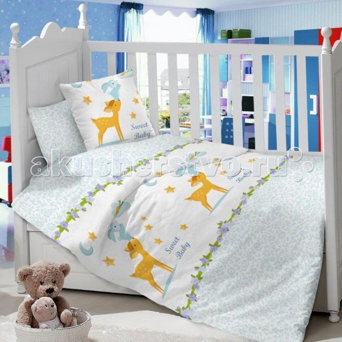 Комплект в кроватку Dream Time Sweet Baby (3 предмета)Sweet Baby (3 предмета)Комплект в кроватку Dream Time Sweet Baby  (3 предмета), состоящий из наволочки 40х60 см, простыни 110х150 см и пододеяльника 110х145 см, выполнен из качественной ткани, специально для детских кроваток.   Комплект рассчитан специально для малышей от 0 до 4 лет. Сатин прочная и плотная ткань с диагональным переплетением хлопковой нити. Несмотря на повышенную плотность, этот материал отличается необыкновенной мягкостью и шелковистой фактурой.   Высокая плотность материала обеспечивает его долговечность и способность выдерживать многочисленные стирки на протяжении многих лет. Белье при этом продолжает оставаться все таким же ярким и привлекательным, поскольку ткань не линяет, не скатывается и не садится.   Такой комплект идеально подойдет для кроватки вашего малыша. На нем ребенок будет спать здоровым и крепким сном. Тон изделия может незначительно отличаться от изображения.<br>