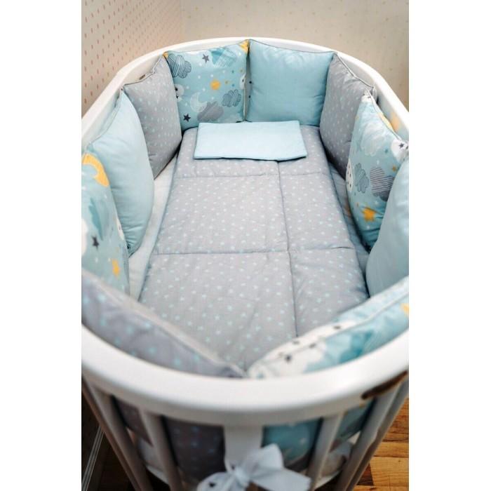 Комплект в кроватку DreamTex Мятные облачка (14 предметов)
