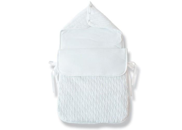 Демисезонный конверт Eko Для новорожденных АжурныйДля новорожденных АжурныйEKO Ажурный конверт BE 02 - из трикотажного полотна в сочетании с хлопком. Идеально подходит для крещения.   В верхней части бутерброды, которые составляют застежки колпачок, который защищает голову ребенка от холода. Ставка на всю длину крепится на молнии. Он может быть с успехом использован в качестве альтернативы спального мешка или одеялa.    Характеристика: Внешний материал, ажурная вязка хлопок 35%, акрил 65%; Заполнение полиэстер 100%; Внутреннуй материал хлопок 100%.   Размеры (Д*Ш): 80*40 см.<br>