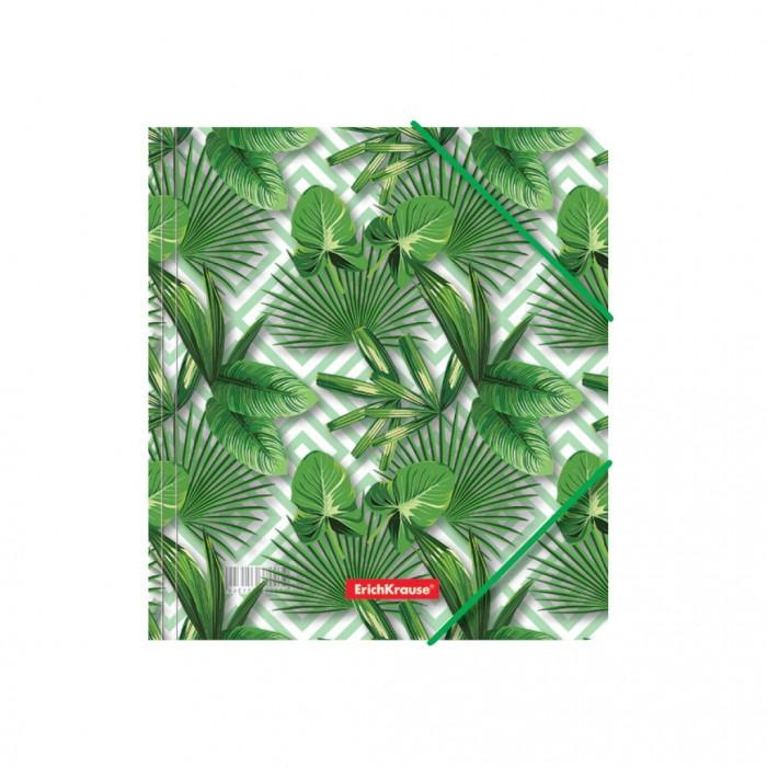 Канцелярия Erich Krause Папка для тетрадей на резинках пластиковая Tropical Leaves A5+