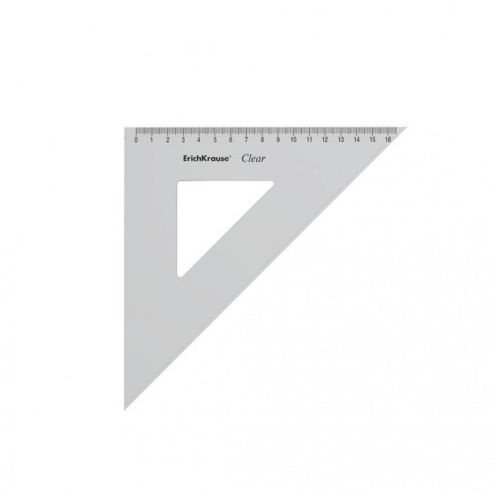 Канцелярия Erich Krause Угольник пластиковый Clear с углом 45 градусов 16 см