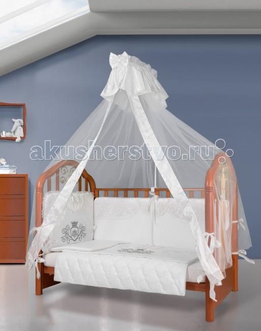 Комплект в кроватку Esspero Grand Сrown (6 предметов)Grand Сrown (6 предметов)Неизменно высокое качество изготовления, отличные гипоаллергенные материалы и благородный стиль - это заслуженные характеристики детского белья известного норвежского производителя Esspero. Новый комплект Grand Сrown не стал исключением, а в полной мере подтверждает вышесказанное.   Изготовлен из высококачественного сатина, наполнителем для одеяла стал гипоаллергенный и дышащий холлофайбер. Простынка оснащена специальной фиксирующей резинкой.   Съемные бортики проходят по всему периметру кровати и надежно берегут вашего ребенка. Все элементы можно стирать при деликатном режиме.  В комплекте:   Одеяло размер 140 х 110 Пододеяльник размер 147 х 112 Борт на всю кровать Простыня размер 130 х 112 Подушка размер 40 х 60 Наволочка размер 40 х 60<br>