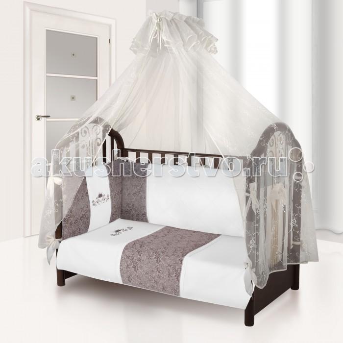 Комплект в кроватку Esspero Verona (6 предметов)Verona (6 предметов)Комплект в кроватку Esspero Verona (6 предметов) обеспечит малышу здоровый и комфортный сон в кроватке.   Наполнитель текстильных элементов - нежный холлофайбер. Материал не теряет форму в процессе эксплуатации, в нём не заводятся пылевые клещи. Внешняя обивка - натуральный хлопок. Комплект выполнен в аристократических расцветках, украшен стильными элементами декора.  В комплект входят: наволочка - 40 х 60 см  пододеяльник - 110 х 140 см простынка - 125 х 65 см съемный бортик подушка - 40 х 60 см одеяло - 110 х 140 см<br>