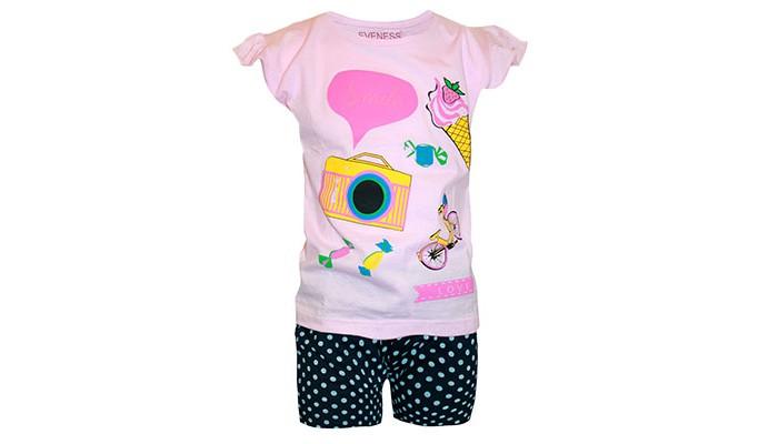 комплект pelican одежда трикотажная Комплекты детской одежды Eveness Комплект для девочек шорты и майка 50023