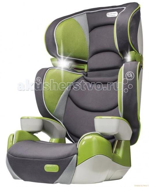 Автокресло Evenflo RightFitRightFitУникальное автомобильное кресло-бустер RightFit с одновременной регулировкой положения подголовника и спинки. Целых 12 разных положений высоты!  Способы установки Использование в качестве сиденья-бустера без спинки - вес ребенка 18 - 49,8 кг. - рост 102 - 145 см. - возраст от 4-х лет. Использование в качестве сиденья-бустера со спинкой - вес ребенка 13,6 - 45 кг. - рост 97 - 145 см. - возраст от 4-х лет.  Способ фиксации: Фиксация штатным ремнем безопасности. Основные особенности 2 кресла в одном! Кресло легко преобразуется в сиденье-бустер без спинки.  Особенности: 3 положения регулировки высоты подголовника и 4 положения регулировки высоты спинки. Новая технология безопасности e3 (energy cube) ослабляет силу боковых ударов на 50%. Наличие направляющей скобы плечевого ремня для штатных ремней безопасности. Два фонарика в изголовье (требуются 4 батарейки типа AAA). Интегрированные подстаканники с обеих сторон. Быстросъемный чехол рассчитан на более 500 циклов машинной стирки.  Одобрено Некоммерческим Научным Институтом Безопасности Дорожного Движения США для использования во всех типах легковых транспортных средств, минивэнов и внедорожников (SUV).<br>